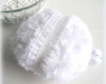 White Powder Puff  |  pouf blanc |  bath powderpuff  |  powder duster  |  gift box option  |  by Bonny Bubbles
