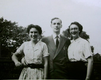 Vintage English Photograph - A Woman in Each Arm