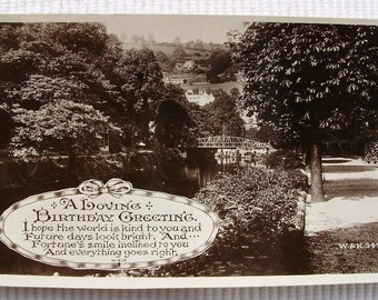 Vintage Real Photo Postcard (RPPC) - A Loving Birthday Greeting