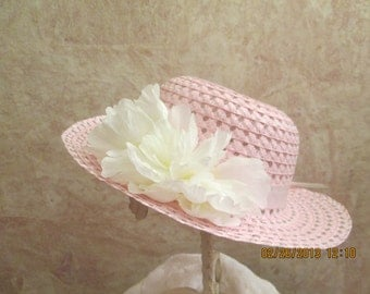 Pink hat -white flowers - Girls Easter Hat - Tea Party Hat - flower girl hat - pink straw hat