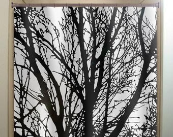 Black Tree Branches Shower Curtain Fabric Extra Long Window Panel Kids Bathroom Decor