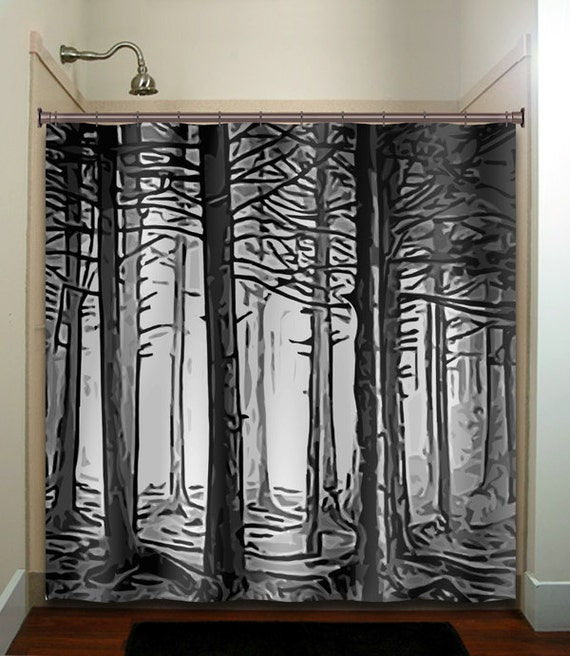 Fifty shades of gray woodland forest trees by tablishedworks for Forest bathroom ideas