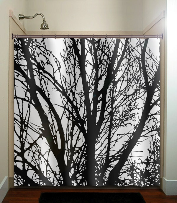 black tree branches shower curtain bathroom by TablishedWorks