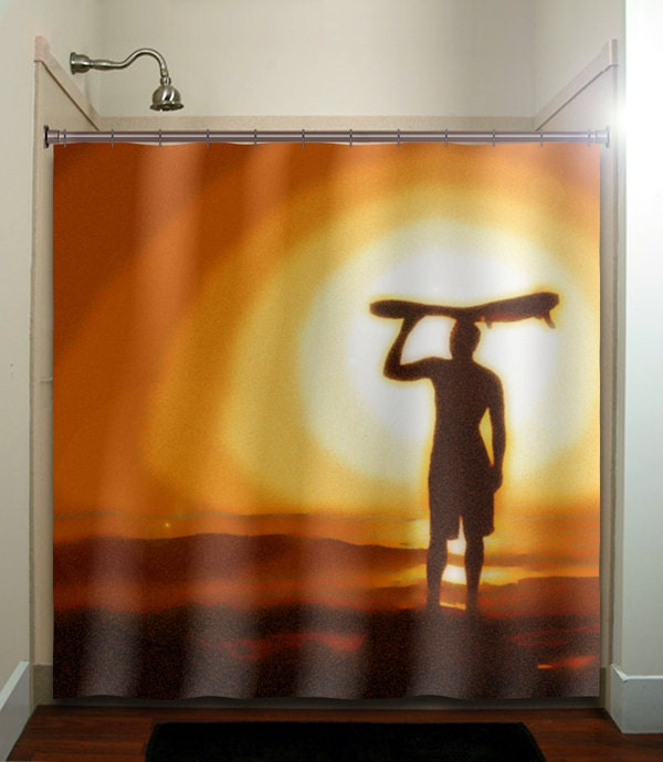 Surfer sunset surf board surfing shower curtain bathroom decor for Sunset bathroom designs