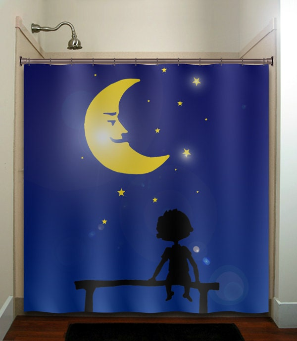 Starry night star moon girl boy children shower curtain for Window design cartoon