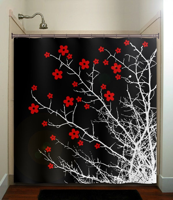 floral branch flower tree cherry blossoms shower curtain