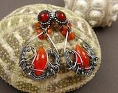 Unique wire wrap jewelry , fashion fine earring , wire wrapped gesmtone earring , orange retro earring , sterling silver jewelry