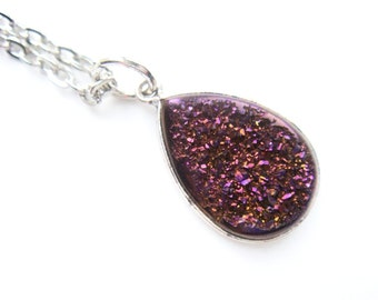 Purple Titanium Druzy Necklace