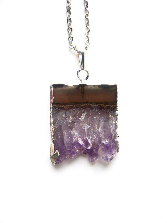 Silver Dipped Amethyst Necklace