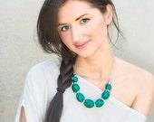 Emerald green bead necklace Bridesmaid necklace textile