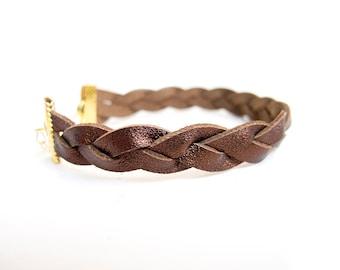 Brown bronze metallic braided leather bracelet