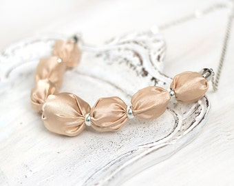 Cream ivory bead necklace Bridesmaid necklace textile