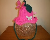 Handknit Infant's Pink Flower Hat with Butterflies - FREE SHIPPING