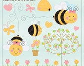 Buzz Buzz Cute Digital Clipart for Card Design, Scrapbooking, and Web Design