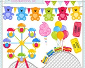 Carnival Cute Clipart, Amusement Park Clip Art, Summer Clipart, Rollercoaster, Cotton Candy, Ferris Wheel, Summer Graphics, Arcade