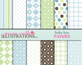 Baby Boy Cute Digital Papers for Card Design, Scrapbooking, and Web Design