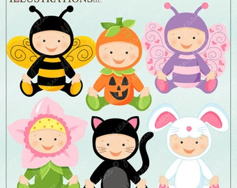 Baby In Costume V1 Cute Digital Clipart for Card Design, Scrapbooking, and Web Design