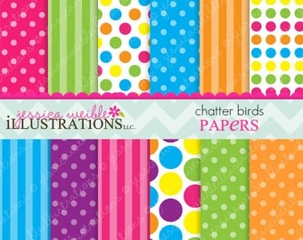 Chatter Birds Cute Digital Papers Backgrounds for Invitations, Card Design, Scrapbooking, and Web Design