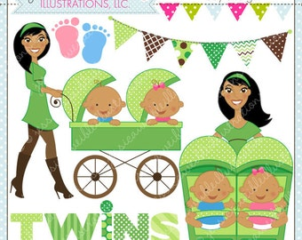 Strollin Double Boy and Girl V2 Cute Digital Clipart for Commercial or Personal Use, TWIN BOY and Girl Clipart, Twins Stroller
