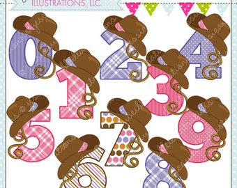 Cowgirl Numbers Cute Digital Clipart for Commercial or Personal Use, Cowgirl Hat Number Graphic