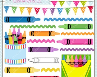Color Me Crayons Cute Digital Clipart for Commercial or Personal Use, Crayon Clipart, Crayon Graphics