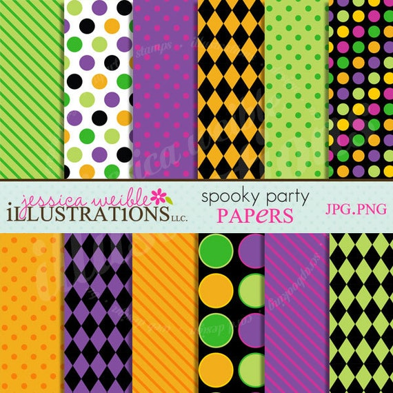 Spooky Party Cute Digital Papers Backgrounds for Invitations, Card Design, Scrapbooking, and Web Design