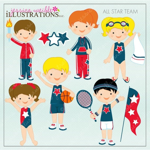 All Star Team Cute Digital Clipart for Card Design, Scrapbooking, and Web Design