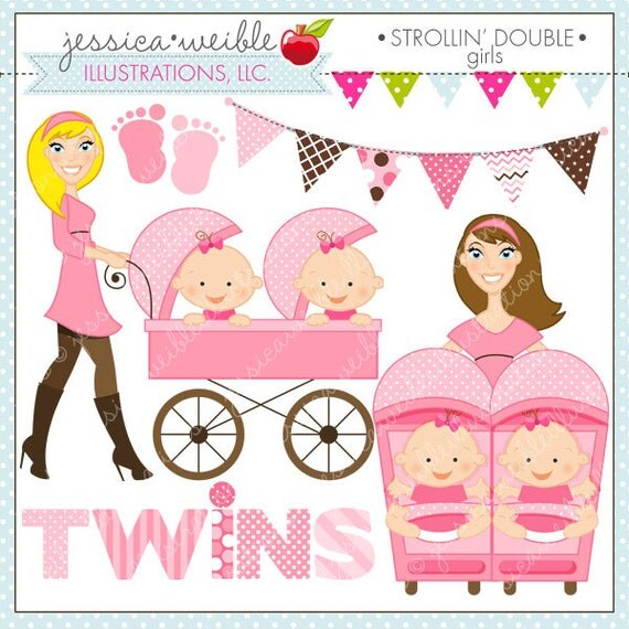 Strollin Double Girls Cute Digital Clipart for Commercial or ...