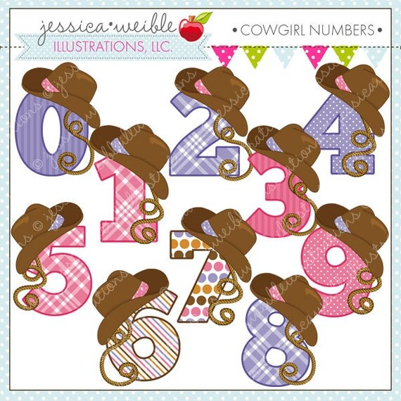 Cowgirl Numbers Cute Digital Clipart for Commercial or Personal ...