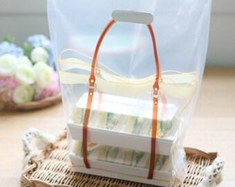 10 Brown Bag Design Illustration Plastic Bags - M50 (11.8 x 13.4 x 2in)