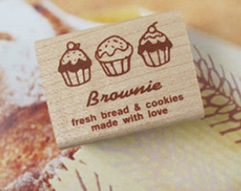 Brownie Muffin Bread & Cookies Label Stamp (1.6 x 1.2in)