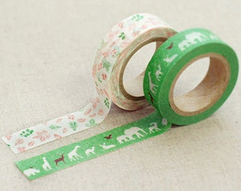 2 Set - Beth Green Animal leaf Adhesive Masking Tapes (0.6in)
