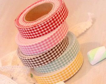 Various Gingham Check Adhesive Fabric Tape (0.6in)