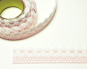 Flower Lace Adhesive Fabric Tape - Pale Pink (1in)