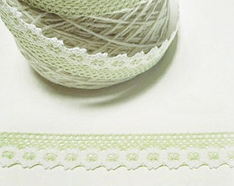 Flower Lace Adhesive Fabric Tape - Pale Green (1in)