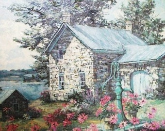 Vintage Open Edition Textured Art Print James Lorimer Keirstead The Pump