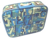 Fun Vintage Suitcase in Aqua Blue and Green Print, Gateway Luggage, Small Carry On or Train Case