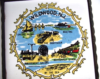 Vintage Wildwood, NJ Miniature Souvenir Tile Trivet