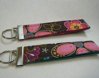 Key Fob Brown & Pink