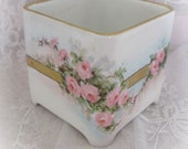 Delicious Hand Painted French Porcleain  Dresser Box Marked XMas 1913 RESERVED for pinkrosetrellis