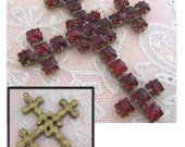 Czech Cross Crucifix Faux Jewels Vintage Circa 1900-1915 reserved for Jenae