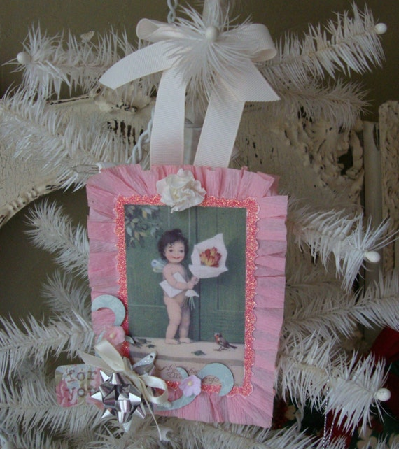 Shabby Chic For you gift tag cute little girl embellished Mini sign ornament Pink and aqua Extra Large  altered Chipboard Gift Tag glittered
