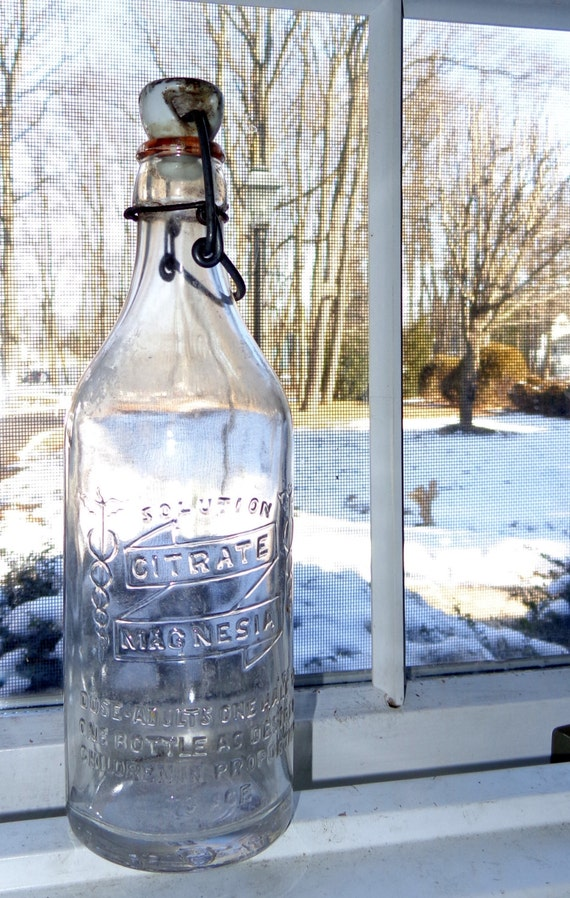 Caduceus Antique Embossed Bottle Medical Apothecary Bottles Porcelain Top FREE SHIPPING