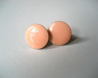 Vintage Small Peach Circular Studs/Earrings // 1970s