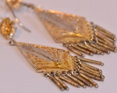 RESERVED FOR ELISA Sterling Vermeil Earrings Filligree Pierced Vintage