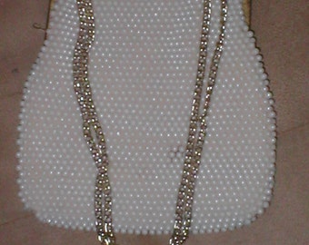 Vintage  White Pearl Beaded Evening Bag Purse