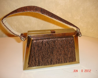 circa 1960   Vintage mettalic Brown Box Purse