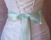 Light Aqua Double Face Satin Ribbon, 1.5 Inch Wide Aquamarine Blue Bridal Sash, Wedding Belt, Robins Egg Blue, 4 Yards