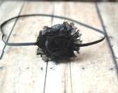 Black Shabby Chic Flower Headband Thin Headband Infant Flower Headband newborn headband toddler Photo Prop/ Birthdays / Baby Shower