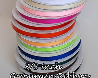 "10yd.  3/8"" inch Grosgrain Ribbon  3.8"" Wholesale Ribbon Pink Lavender Turquoise Apple Green Light Blue Purple Gray Mint"